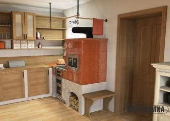 Klasický kachlový sporák lze napojit na moderní kuchyň.