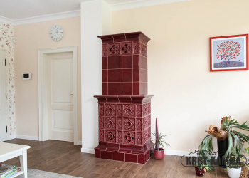 Horkovzdušný kachlový krb - sloupová kamna, část do obývacího pokoje