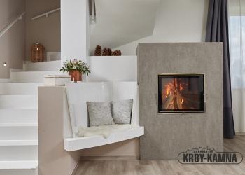 Akumulační kachlová kamna s topeništěm Ortner a KMS tahovým systémem Ortner, kachle Hein