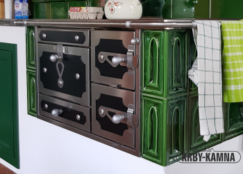 Kompaktní stolový sporák od fi. Řehulka jsme začlenili do kuchyňské linky.