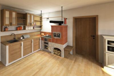 I klasický kachlový sporák lze napojit na moderní kuchyň. Spojení je vytvořeno odkládací plochou v rohu. Kachle Hein - glazura Teracota, Kování Ryšavý.